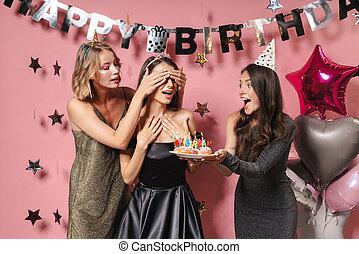 ケーキ, 保有物, 友人, カバーの 目, birthday, girl.