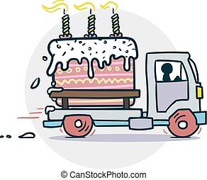 ケーキ, 出産, ステッカー, トラック
