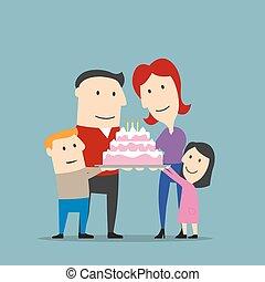 ケーキ, 大きい, 幸せな家族, 祝う