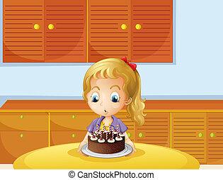 ケーキ, 女の子, 吹く, 彼女