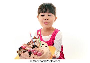 ケーキ, 女の子, 手を持つ