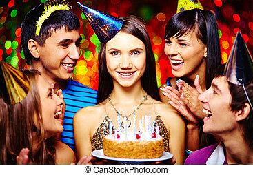 ケーキ, 女の子, birthday