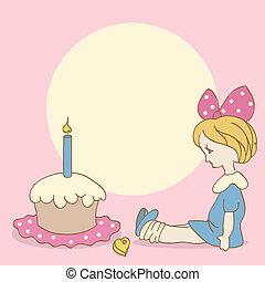 ケーキ, 女の子, birthday, 背景