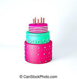 ケーキ, 層, かわいい, birthday, 白, 3, 背景