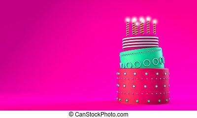 ケーキ, 層, ピンク, birthday, 3, 背景