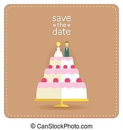 ケーキ, 平ら, スタイル, デザイン, カード