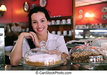 ケーキ, 彼女, ビジネス, 提示, 所有者, 味が良い, 小さい, 店