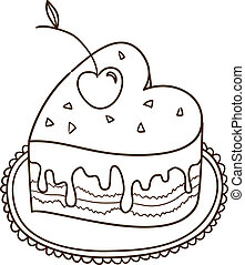 ケーキ, 心, 隔離された, white., 甘い
