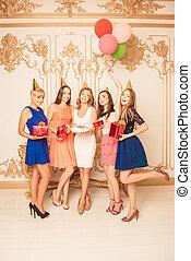 ケーキ, 提示, 保有物, birthday, 風船, プレゼント, 幸せ, 女の子