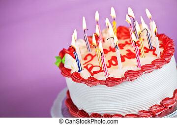 ケーキ, 火をつけられた, 誕生日ろうそく