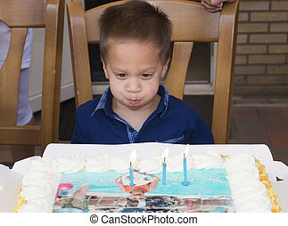 ケーキ, 男の子, わずかしか, birthday