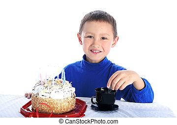 ケーキ, 男の子, 白, birthday, 隔離された