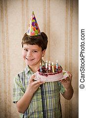 ケーキ, 男の子, birthday, 保有物, 幸せ