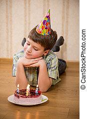 ケーキ, 男の子, birthday, 愛らしい, 床