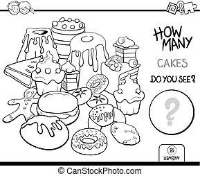 ケーキ, 着色, 数える, ページ