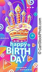 ケーキ, 蝋燭, birthday, 旗