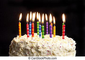 ケーキ, 蝋燭, birthday, 黒い背景