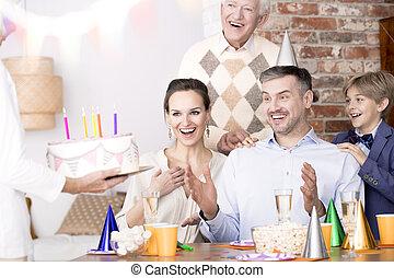 ケーキ, 見る, birthday, 驚かされる, 人