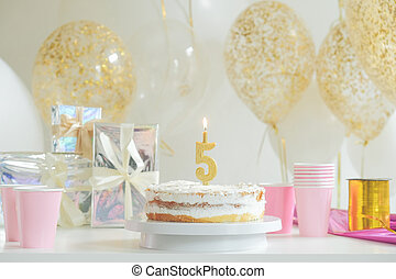 ケーキ, 飾られる, birthday, 背景, カラフルである