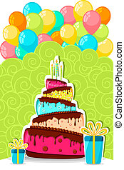 ケーキ, balloon, birthday, ウィット