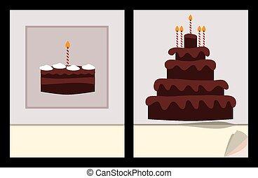 ケーキ, birthday, カバー, テンプレート