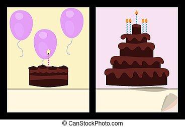 ケーキ, birthday, テンプレート
