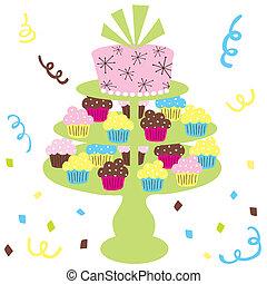 ケーキ, cupcake, 結婚式