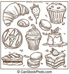 ケーキ, cupcakes, 甘い, スケッチ, デザート, パン屋, icons.