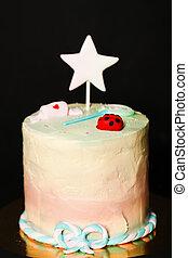 ケーキ, girl., birthday, 子供