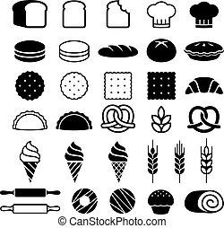 ケーキ, illustration., アイコン, set., パン屋, ベクトル