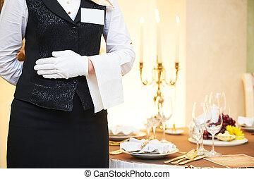 ケータリング, ウェートレス, サービス, レストラン