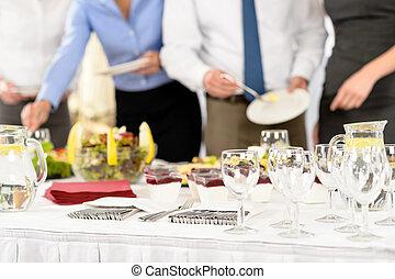 ケータリング, ミーティング, サービス, ビジネス 人々