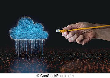 ケーブル, 計算, 雨, rj45, データ, 雲
