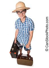 ゲイである, スーツケース, 2, 若い, 魅力的, 準備ができた, 人, ガラス