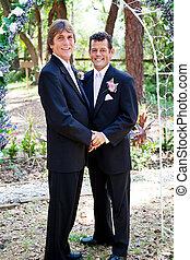 ゲイである, 結婚式の カップル, -, 恋愛中である