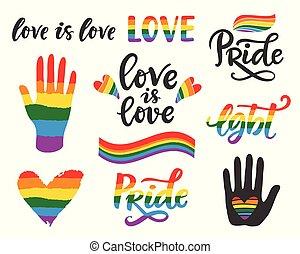 ゲイの権利, 書かれた, lgbt, 手, poster., 概念, レタリング