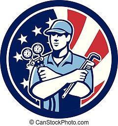 ゲージ, 修理人, レンチ, ac, 多岐管, usa-flag-icon, circ