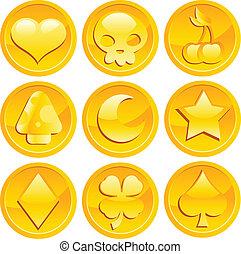 ゲーム, コイン, 金