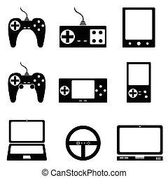 ゲーム, セット, アイコン