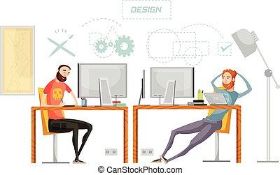 ゲーム, デザイン, 構成, オフィス