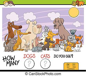 ゲーム, ネコ, 数える, 犬, 活動