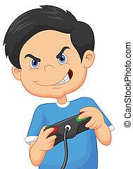 ゲーム, ビデオ, プレーする, 漫画, 子供