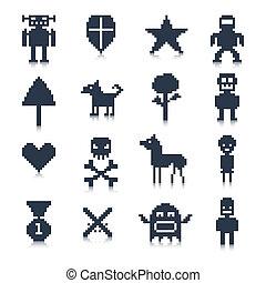 ゲーム, ピクセル, 特徴