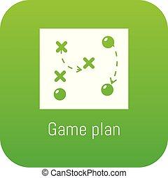 ゲーム, ベクトル, 緑, 計画, アイコン