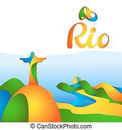 ゲーム, リオ, 印, 2016, オリンピック