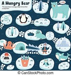 ゲーム, 味が良い, fish., 熊, 助け, 空腹, 面白い, 迷路, ファインド