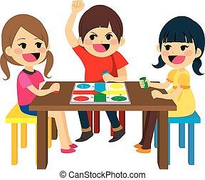 ゲーム, 子供, 遊び, 板