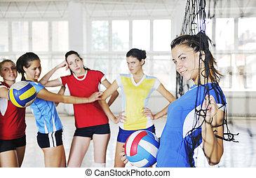 ゲーム, 屋内, 女の子, バレーボールをする