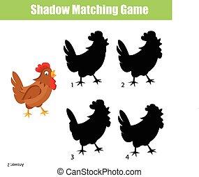 ゲーム, 影, マッチ, 子供