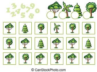 ゲーム, 数える, 子供, 木